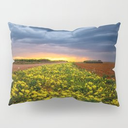 Yellow Flower Road - Path of Wildflowers Lead Into Texas Sunset on Stormy Evening Pillow Sham