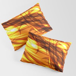 Saturated gold and smooth sparkling lines of metal ribbons on the theme of space and abstraction. Pillow Sham