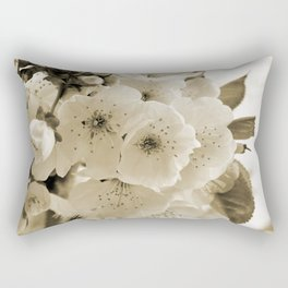 Cherry Blossoms Monochrome Rectangular Pillow