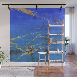 Sky Blue Marble With 24-Karat Gold Nugget Veins Wall Mural