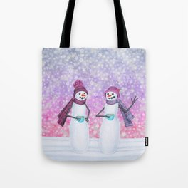 snowladies sipping tea Tote Bag