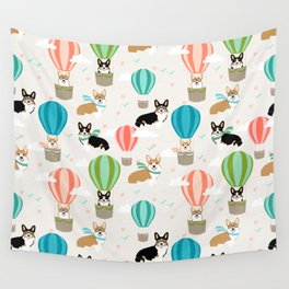 Corgi hot air balloon ride cute gifts for corgi lovers welsh corgi red and tricolored Wall Tapestry