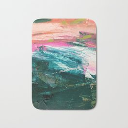Meditate [4]: a vibrant, colorful abstract piece in bright green, teal, pink, orange, and white Bath Mat