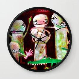 Retrato de familia caníbal con mascota cocodrilo Wall Clock