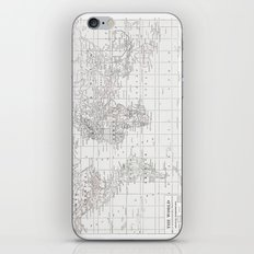 World Map ~ White on White iPhone Skin