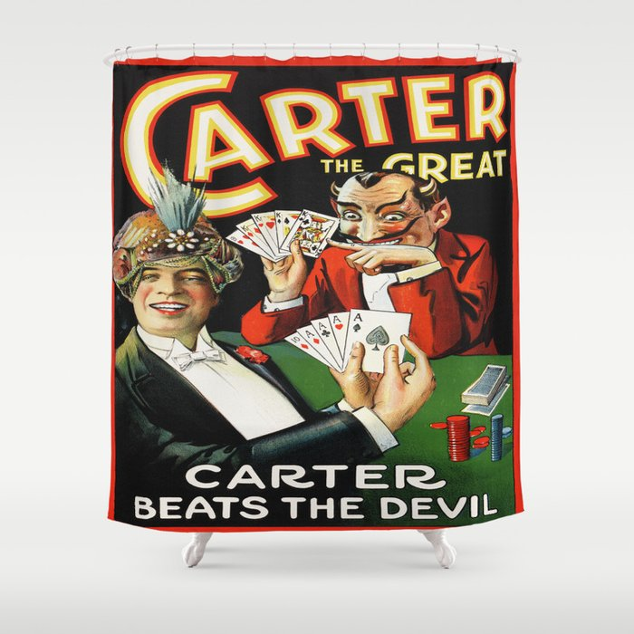 Carter The Great Magician Poster Shower Curtain by yesteryears