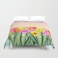 tulips Duvet Covers featuring Tulips by Julia Badeeva