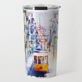 Lisbon Watercolor Cityscape Travel Mug