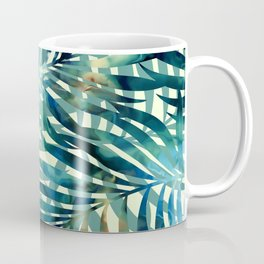 Tropical, Jungle, Palm Leaves, Watercolor Abstract, Blue and Green Coffee Mug