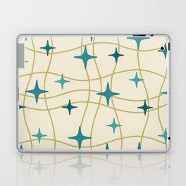 Mid Century Modern Cosmic Star Pattern 693 Cream Turquoise Olive Laptop & iPad Skin