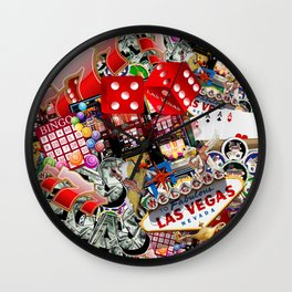 Gamblers Delight - Las Vegas Icons Wall Clock