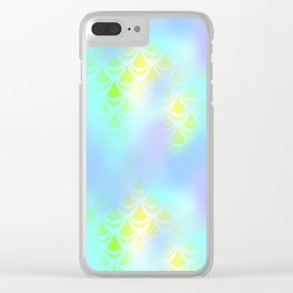 Blue Green and Yellow Mermaid Tail Abstraction. Magic Fish Scale Pattern Clear iPhone Case