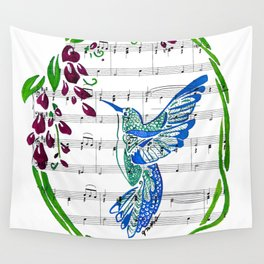 Carrier of Hope (Hummingbird and Wisteria) Wall Tapestry