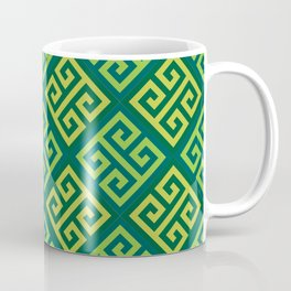Ornate Twist Geometric Pattern - Green Coffee Mug