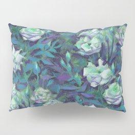 White roses, blue leaves Pillow Sham