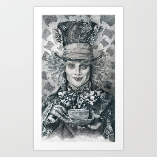 Mad Hatter - Johnny Depp Traditional Portrait Print Art Print