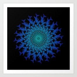 Ombre Tribal Hammerhead Mandala Art Print