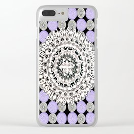 Black, Purple, and Silver Patterned Mandalas Clear iPhone Case