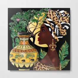 African woman,vase ,fashion art ,black background ,beautiful earrings. Metal Print