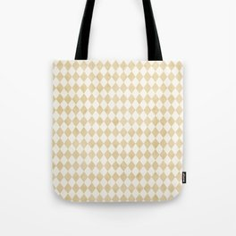 Chic Gold & Ivory Harlequin Pattern Tote Bag