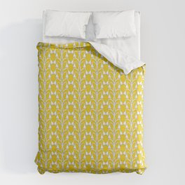 Snow Drops on Mustard Yellow Duvet Cover