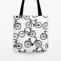 bikes Tote Bags featuring Bikes by sarknoem