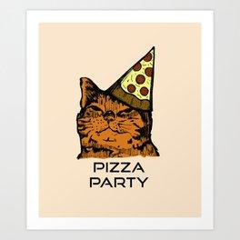 Pizza Party Cat: Funny Animal Kitty Art Print
