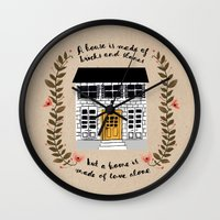 home sweet home Wall Clocks featuring Home by Phillippa Lola