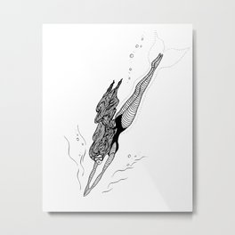 Free Dive Mermaid Metal Print
