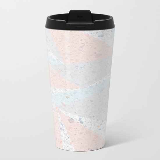 Soft terrazzo pastel with abstract geometric triangles Metal Travel Mug