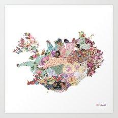 Iceland map Art Print