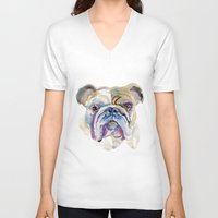 bulldog V-neck T-shirts featuring Bulldog by coconuttowers