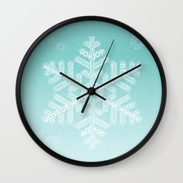 Typographic Snowfake Greetings - Ombre Teal Wall Clock