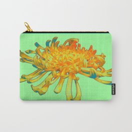 Golden-yellow Spider Mum, Minty Teal  Color Design Carry-All Pouch