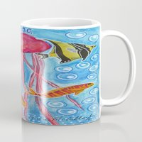 jelly fish Mugs featuring Jelly Fish by Julie M Studios
