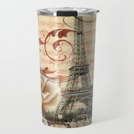 vintage chandelier white rose music notes Paris eiffel tower Travel Mug