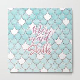 Mermaid Skills Pink Blue Watercolor Scales Pattern Metal Print