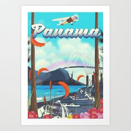 Panama flight travel poster. Art Print