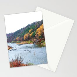 Scenic Fall Nature Lanscape with Stream and Hills Stationery Cards