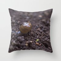 snail Throw Pillows featuring Snail by Heartland Photography By SJW