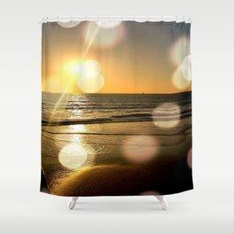 Golden Sunset Ocean Shower Curtain