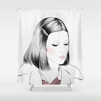 tenenbaum Shower Curtains featuring Gwyneth Paltrow (as Margot Tenenbaum) - Melancholia Serie by Sol Fortuny