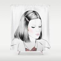 tenenbaum Shower Curtains featuring Gwyneth Paltrow (as Margot Tenenbaum) - Melancholia Serie by Sol Fortuny