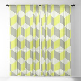 Diamond Repeating Pattern In Limelight Yellow Gray and White Sheer Curtain