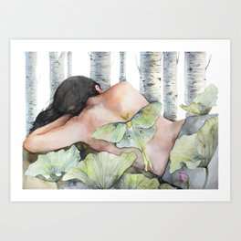 Sleeping in the Forest, Luna Moth Girl with Dark Hair Art Print