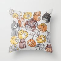 a lot of cats Throw Pillows featuring Lot of cats by Billie La Roche
