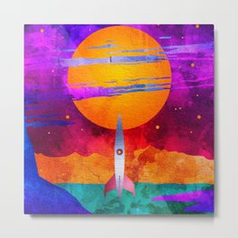 Colorful Outer Space Spaceship Metal Print