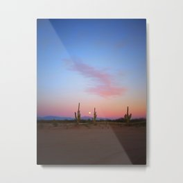 Tres Saguaros  & Full Moon Metal Print