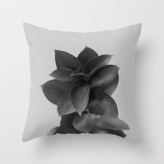 GREEN FOLIAGE BLACK on GREY Throw Pillow
