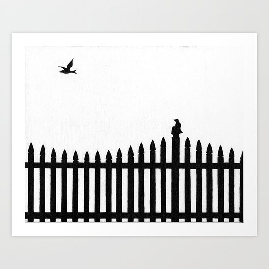 Bird on a fence Art Print